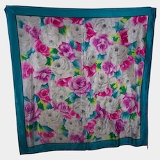 Large Floral Themed Designer Signed Adrienne Vittadini Silk Scarf Wearable ART