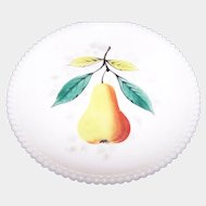 WESTMORELAND Milk Glass Pear Fruit Plate With Beaded Edge