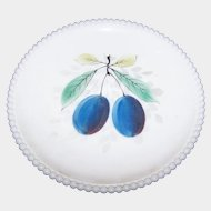 WESTMORELAND Milk Glass Plum Fruit Plate With Beaded Edge