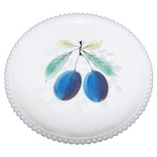 WESTMORELAND Milk Glass Plum Fruit Plate With Beaded Edge