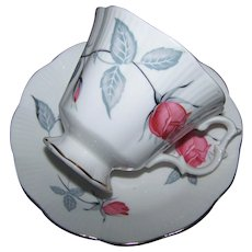 Pretty Pink Rose Floral Themed Tea Cup & Saucer Royal Albert England