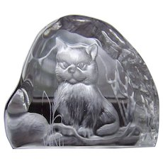 Vintage Dartington Glass Crystal Kitty Cat  Paperweight - Signed A Capredoni
