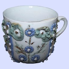 Early  Moustache Cup Mug with applied Flower Ribbon and Beading