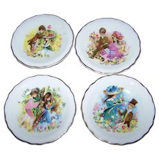 Set of 4 Small 4.5 Inch Artist Signed Foster Plates Romantic Themed Royal Grafton MI England