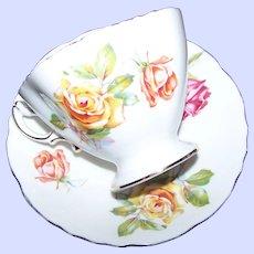 Beautiful Bone China  Tea Cup & Saucer Hammersley  England Morgans Rose