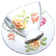 Beautiful Bone China  Tea Cup & Saucer Hammersley  England Morgans Rose