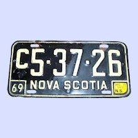 Collectible  VTG Commercial License Plate Metalware Nova Scotia Canada 1969 C5-37-26