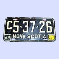 Collectible  VTG Commercial License Plate Metalware Nova Scotia Canada 1969 C5-37-26