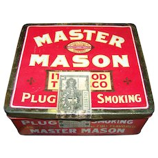Empty VTG Advertising Tin Litho Box Master Mason Smoking Tobacco  Rock City Quebec