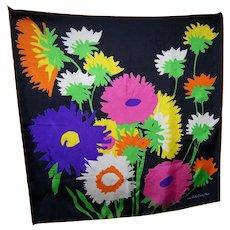 Silk Scarf Floral Print Designer Signed  La Belle Creole Paris Wearable ART