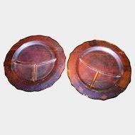 2 Federal Marigold Carnival Glass Grill Plates / Plate Normandie Bouquet & Lattice 1930's Era