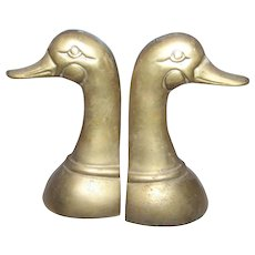 Solid Brass Metalware Duck Head Bookends Book Ends Home Decor