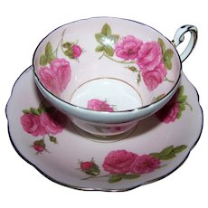 Pretty Pink Rose Floral Themed Foley Bone China Teacup & Saucer
