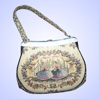 What A Pretty Vintage  Handbag Purse By  La Marquise Tapestry Style Dancer Floral Theme