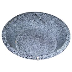 Lovely Large Rustic Spatter  Enamelware / Graniteware Wash Bowl Basin