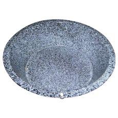 Lovely Large Rustic Spatter  Enamelware / Graniteware Wash Bowl Basin