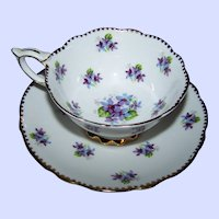 Pretty Vintage Tea Cup & Saucer Featuring A Floral Theme Sweet Violets  Royal Stafford MI England