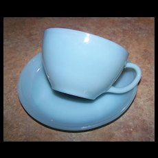 Fire King Delphite Blue Glass Oven Ware Coffee/ Tea Cup & Saucer