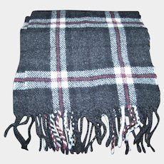 Gently Used Vintage Fringed  Paid Scarf by BLARNEY Woollen Mills Made in Ireland
