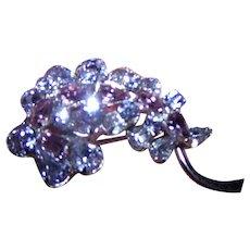 The Tiniest Designer Signed Sherman Faux Alexandrite Purple & Blue Rhinestone Brooch Pin