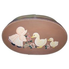 Vintage Painted Wood Oval Box  Folk Art Storage Home Decor Chicks  Flowers Bonnet Baby