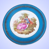 10 Inch Love Story Plate Signed Fragonard Lovely Gold Decoration MI France