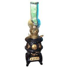 Vintage Ceramic Minature Novelty Kerosene Pot Belly Wood Stove Lamp Light