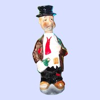 Sad Hobo Ceramic Painted Liquor Decanter Bottle Cork Head Top