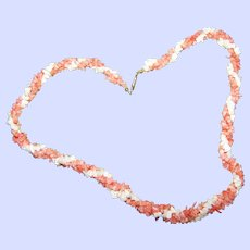 A Pretty Twisted 3 Strand  White and Orange Coral Chip Necklace