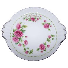 A Lovely Royal Albert England Flower of the Month Chrysanthemum NOVEMBER Handled Plate