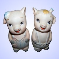 Sweetest Little Bisque Porcelain Piggy Pig Salt & Pepper Spice Shakers
