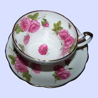 A Beautiful Artist Signed Century Rose  Butterfly Tea Cup & Saucer Foley  England