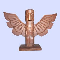 Carved Wood Eagle Totem Pole 6.5 Inches tall Signed Danny Joseph Vancouver BC