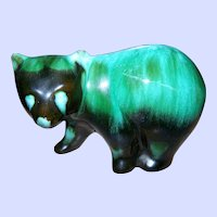 Green Glaze Blue Mountain Pottery BMP Walking Bear Figurine Collingwood Ontario Canada