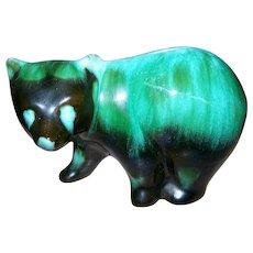 Green Glaze Blue Mountain Pottery BMP Walking Bear Figurine Collingwood Ontario Canada