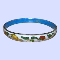 Pretty Decorative Thin  Vintage Cloisonné Flower Butteryfly Theme