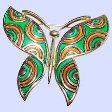 Large Designer Signed Trifari Enamel Butterfly Brooch / Pin