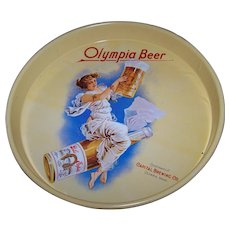 Vintage Advertising Tin Litho Serving Beer Tray Olympia Brewing Company