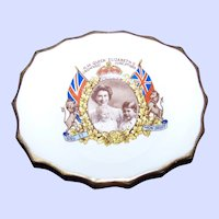 Vintage Souvenir Royalty Bone China  Pin Dish H.M. Queen Elizabeth Crowned June 2nd 1953