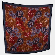 Beautiful Quality Designer Signed Bill Blass Silk Scarf Floral Theme Rolled Edges