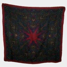 100 % Wool Fringed Shawl Scarf Sherbrouck MI Japan Paisley Pattern