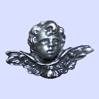 Here Is A Sweet Little  Cherub Putti Silvertone Metal Brooch Pin