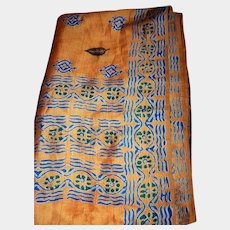 Stunning Gently Used Raw Silk Print Scarf Wrap
