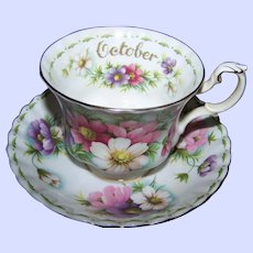 Royal Albert Tea Cup & Saucer Set Flower of the Month Series COSMOS October  England