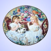 "1991 Reco Plate ""The Tea Party"" by Sandra Kuck Second Issue Hearts and Flowers Collection Collector Plate"