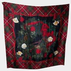 Lovely Quality Designer Signed Carlisle Silk Scarf Tartan Floral Acorn Theme