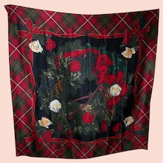 Lovely Quality Designer Signed Carlisle Silk Scarf Tartan Floral Acorn Theme
