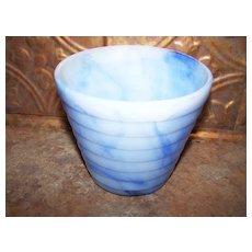 Vintage AKRO AGATE Glass Blue Swirl Slag Stacked Disc Planter Pot 4""