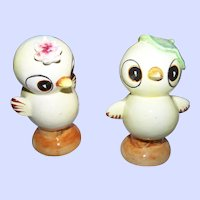 Charming Ceramic Comical Chick Salt & Pepper Spice Shaker Set JAPAN