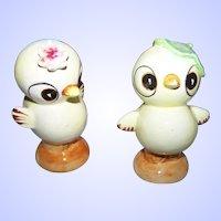 Charming Ceramic Comical Chick Salt & Pepper Spice Shaker Set JAPAN